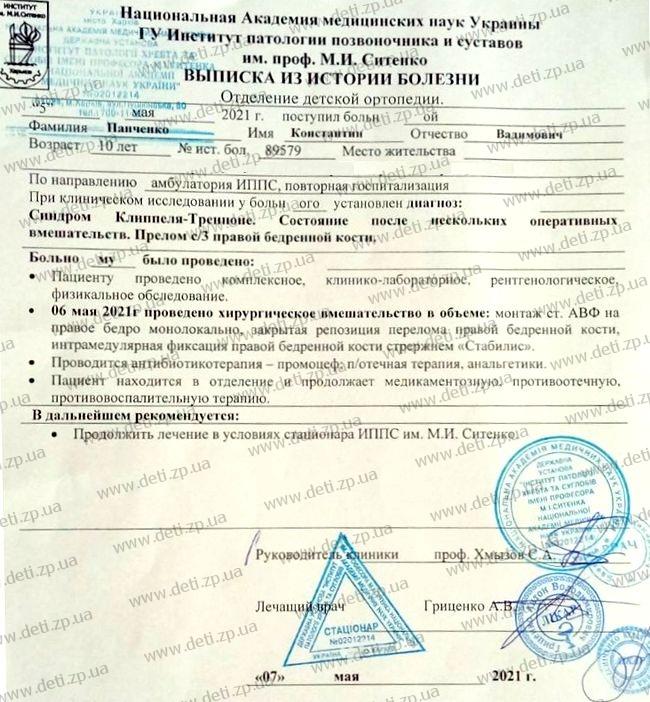 Выписка Костя Панченко
