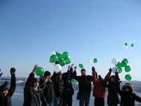 Children of Zaporozhye who had survived cancer went up the mound on the Khortitsa Island and released balloons into the sky as the sign of the victory over the disease.