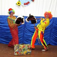 On  Eve of the Day of Knowledge Funny Clowns Visit Children at the Orphanage