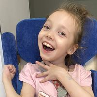 Viktoriya Khimich, born in 2014 - Cerebral palsy, spastic tetraparesis, double hemiplegia.